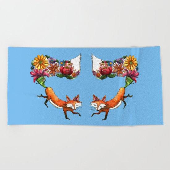 Hunt Flowers Not Foxes Beach Towel