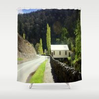 hamlet Shower Curtains featuring Walhalla Fire Station by Chris' Landscape Images & Designs