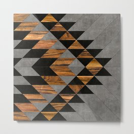 Urban Tribal Pattern 10 - Aztec - Concrete and Wood Metal Print