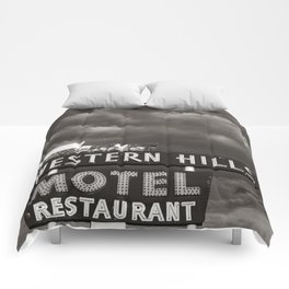 Western Hills- Horizontal Black and White Comforters