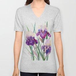 Irises, purple floral art, garden iris Unisex V-Neck