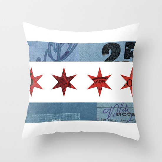 Ephemeral Chicago Flag Throw Pillow