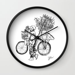Bicycle Flower Seller in Hanoi in Pencil Wall Clock