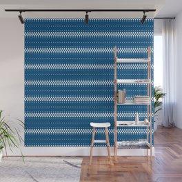 Classic blue white ethnic boho pattern Wall Mural