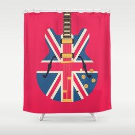 Union Jack Flag Britpop Guitar - Crimson Shower Curtain