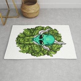 Alien Smoking Weed Funny Marijuana design Rug