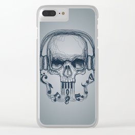 Skull Music Line Clear iPhone Case