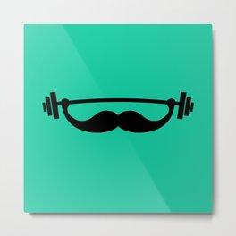 Minimal Funny Fitness Mustache / Beard Metal Print