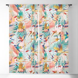 Colorful, Vibrant Paradise Birds and Leaves Blackout Curtain