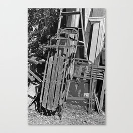 Old Sled- vertical Canvas Print