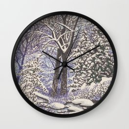 SNOWY WOODLAND BLACK AND BLUE PEN DRAWING Wall Clock