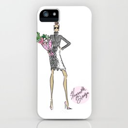 "Hayworth Design Fashion Illustration ""Fashionable Girl with Flowers"" iPhone Case"