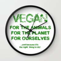 vegan Wall Clocks featuring Why Vegan? by VegArt