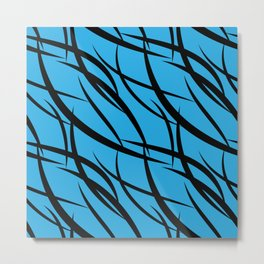 Sea intertwining black lines. Metal Print