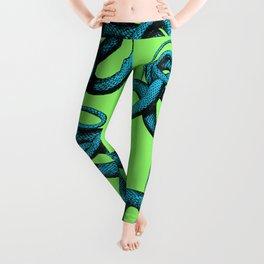 Snek 1 Snake Teal Turquoise Lime Green Leggings