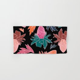 Tropical Ginger Plants in Coral + Black Hand & Bath Towel