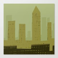 metropolis Canvas Prints featuring Metropolis by James Percy Illustration