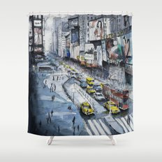 Time square - New York City - Illustration watercolor painting Shower Curtain