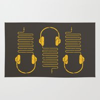 headphones Area & Throw Rugs featuring Gold Headphones by Sitchko Igor