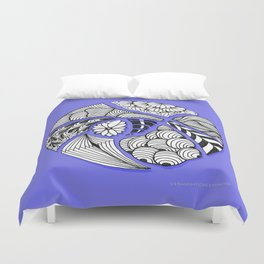 Zentangle Design - Black, White and Purple Illustration Duvet Cover
