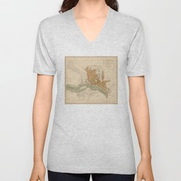 Vintage Map of Richmond VA (1864) Unisex V-Neck