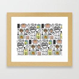 Pattern Stay Happy Animals Framed Art Print