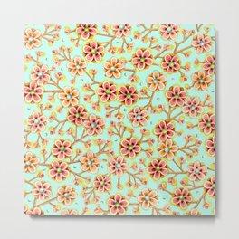 Candy Apple Blossom Aqua Metal Print