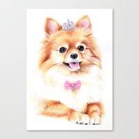 pomeranian Canvas Prints featuring Pomeranian Princess by 13 Styx