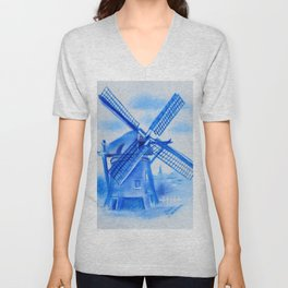 Drawing Delft-Style Windmill Unisex V-Neck