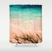 beth hoeckel Shower Curtains featuring SEA AND TREE by Catspaws