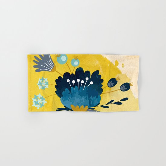 Yellow Acuarela Blue Flower Hand & Bath Towel