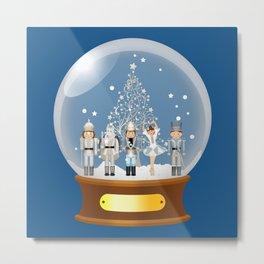 The Nutcracker Christmas Special - Snow Globe Edition - Nutcracker Ballet Scene - Nutcracker Christmas eve in a snow globe  Metal Print