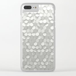 White hexagons Clear iPhone Case