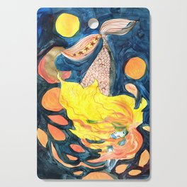 gold, Yellow and blue mermaid Cutting Board