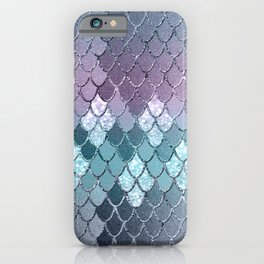 Mermaid Scales Navy Blue Teal Purple Glam #1 #shiny #decor #art #society6 iPhone Case