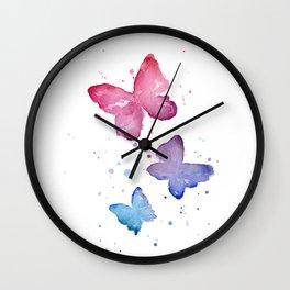 Butterflies Watercolor Abstract Splatters Wall Clock
