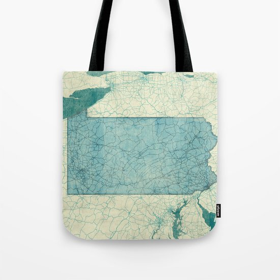 Pennsylvania State Map Blue Vintage Tote Bag