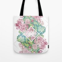 leah flores Tote Bags featuring Flores by Barlena