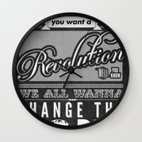 revolution Wall Clocks featuring Revolution.  by Creation Factory