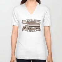 pocket fuel V-neck T-shirts featuring Rockatansky Fuel Haulage by Doodle Dojo
