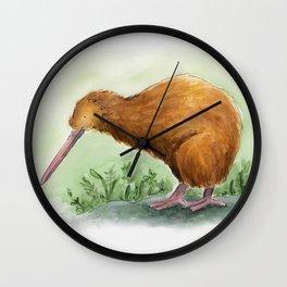 Kiwi - NZ bird watercolor Wall Clock