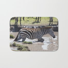 Zebra in a river, serengeti national park, tanzania Bath Mat
