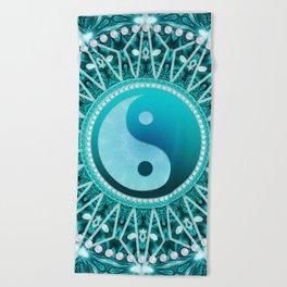 Tranquility Yin Yang Blue Aqua Mandala Beach Towel