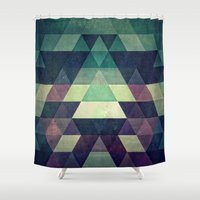 spires Shower Curtains featuring dysty_symmytry by Spires