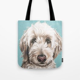 Sweet and Soulful Labradoodle Painting, Labradoodle Artwork, Portrait of a Champagne Labradoodle Tote Bag