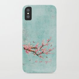 Its All Over Again - Romantic Spring Cherry Blossom Butterfly Illustration on Teal Watercolor iPhone Case