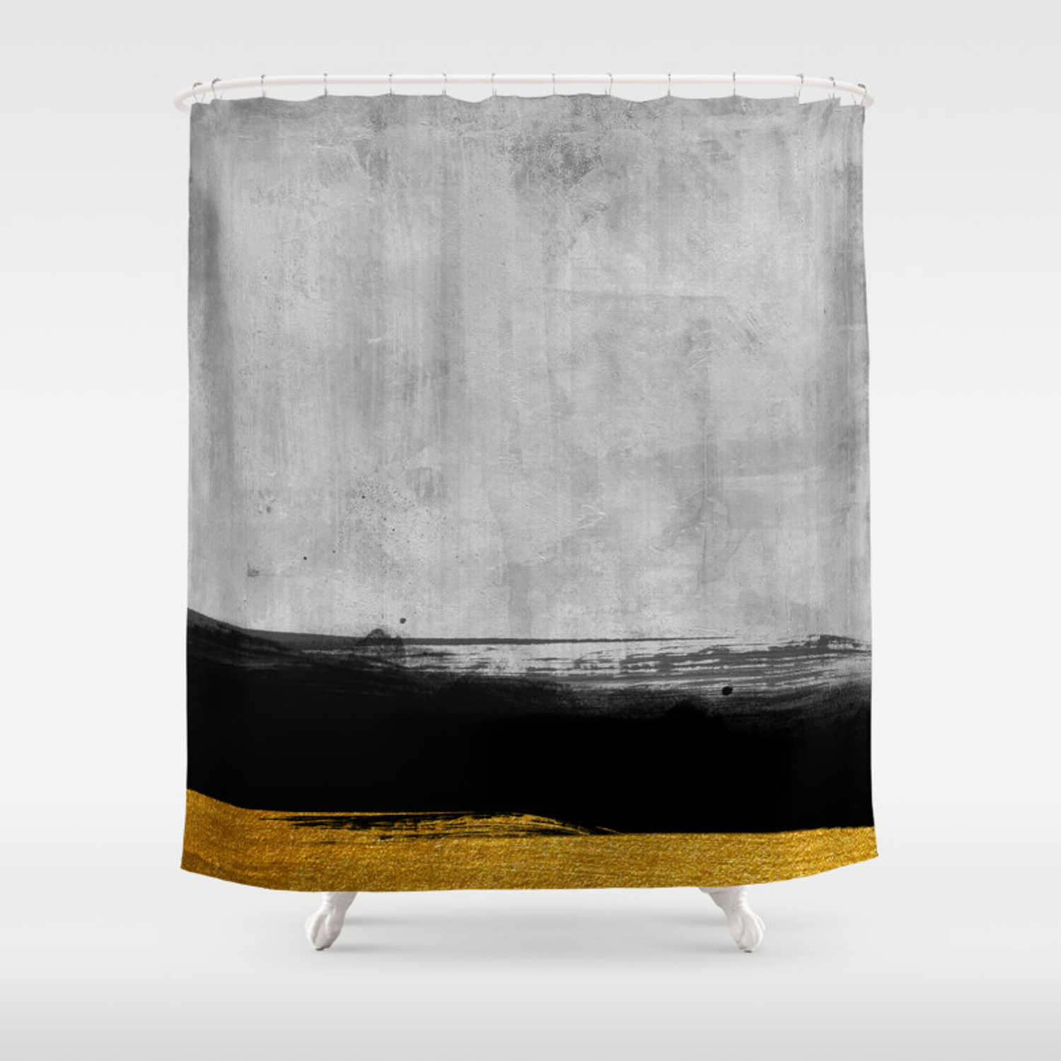 Black And Gold Grunge Stripes On Modern Grey Concrete Abstract Backround I Stripe Striped Shower Curtain