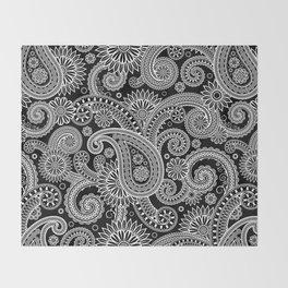 Boho Black & White Paisley Pattern Throw Blanket
