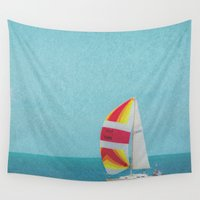 sailboat Wall Tapestries featuring Bright Sailboat by Pure Nature Photos