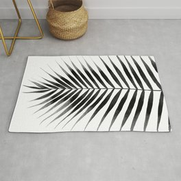 Palm Leaf Watercolor | Black and White Rug